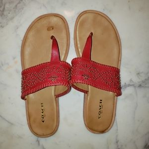 Coach Leather Thongs Sandals